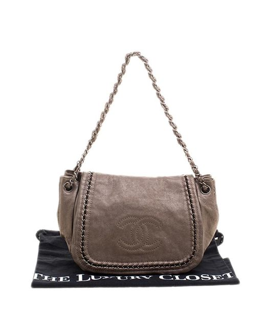 eebe00a46f84 ... Chanel - Metallic Bronze Leather Luxe Ligne Accordion Flap Bag - Lyst  ...