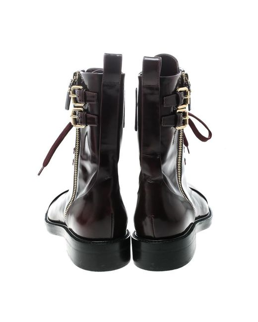 9e6ae6499e7f ... Louis Vuitton - Black Burgundy Leather Like A Man Ranger Boots Size 37  - Lyst ...