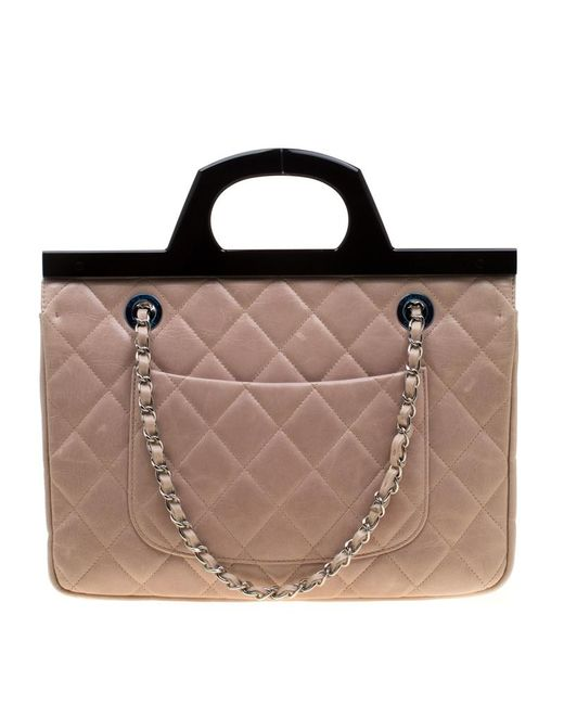 e41396b2b31f ... Chanel - Blush Pink/black Quilted Leather Cc Delivery Small Shoulder Bag  - Lyst ...