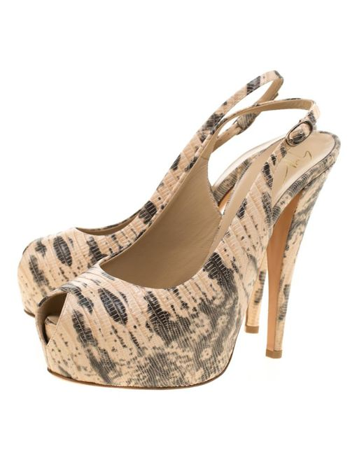 ec6eda7682a ... Giuseppe Zanotti - Natural Embossed Lizard Leather Monro Peep Toe  Platform Slingback Sandals - Lyst ...