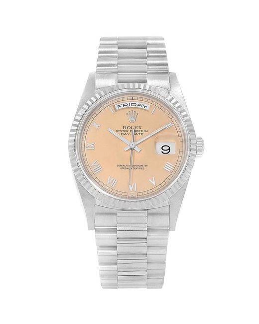 84395181917 Rolex - Metallic Pink 18k White Gold President Day-date Men's Wristwatch  36mm for Men ...