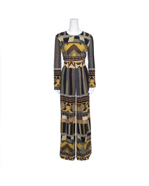 7a22332663c Etro - Multicolor Geometric Printed Long Sleeve Jumpsuit M - Lyst ...