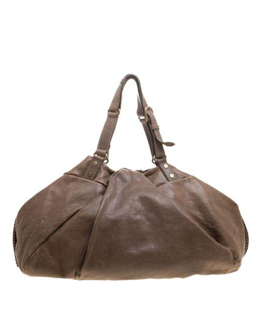 Diane von Furstenberg - Brown Leather Belle Draped Wrap Bag - Lyst