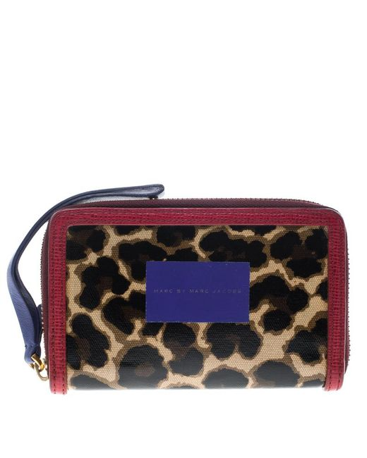 Marc By Marc Jacobs - Brown/red Leopard Print Coated Canvas Wingman Wallet - Lyst