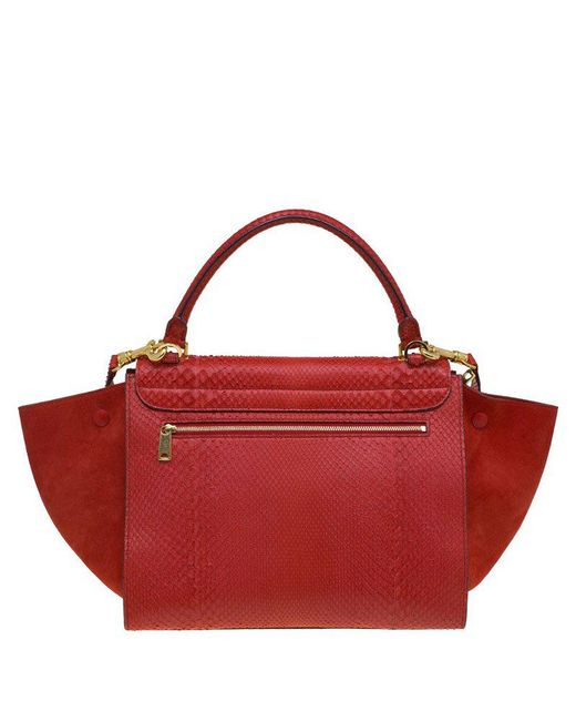 dbe3055036 ... Céline - Red Python And Suede Medium Trapeze Tote - Lyst ...