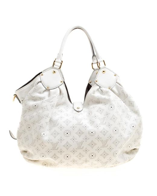 24f1270818d ... Louis Vuitton - White Monogram Mahina Leather Xl Bag - Lyst ...