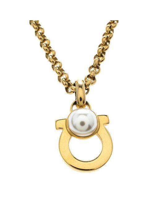 Ferragamo - Metallic Gancini Faux Pearl Tone Pendant Necklace - Lyst