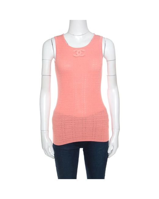 Chanel - Pink Peach Perforated Rib Knit Logo Applique Detail Sleeveless Tank Top M - Lyst