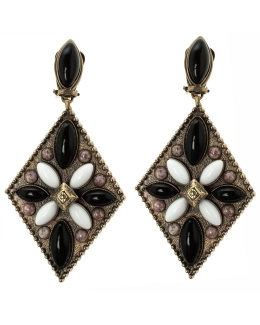 Etro - Metallic Tibetan Cabochon Gold Tone Rhombus Clip-on Dangle Earrings - Lyst