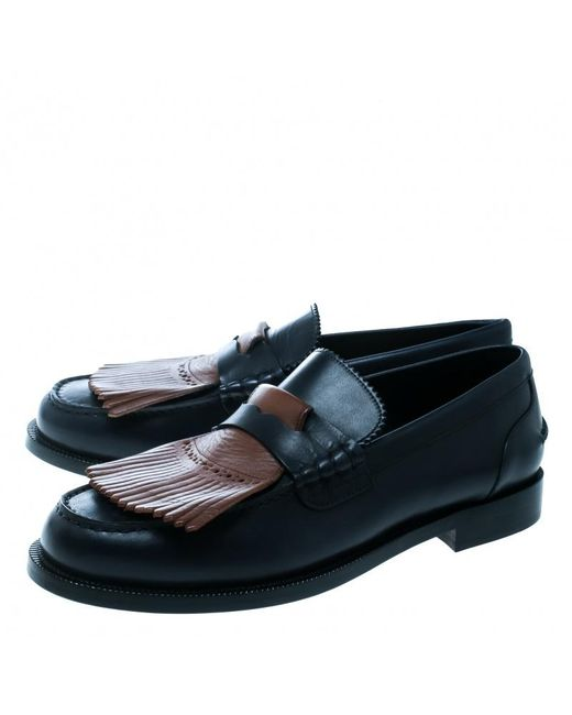 a3fecc120a7 ... Burberry - Dark Blue Leather Bedmoore Fringe Detail Penny Loafers Size  45 for Men - Lyst ...