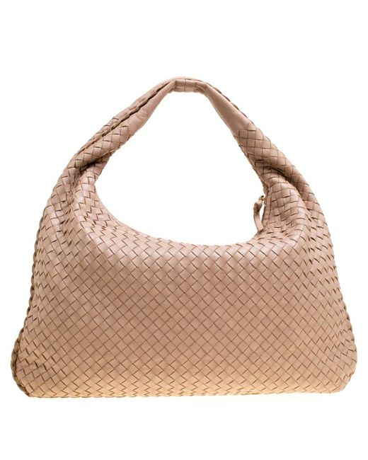 2f6dfd7fab ... Bottega Veneta - Natural Intrecciato Leather Veneta Hobo - Lyst ...