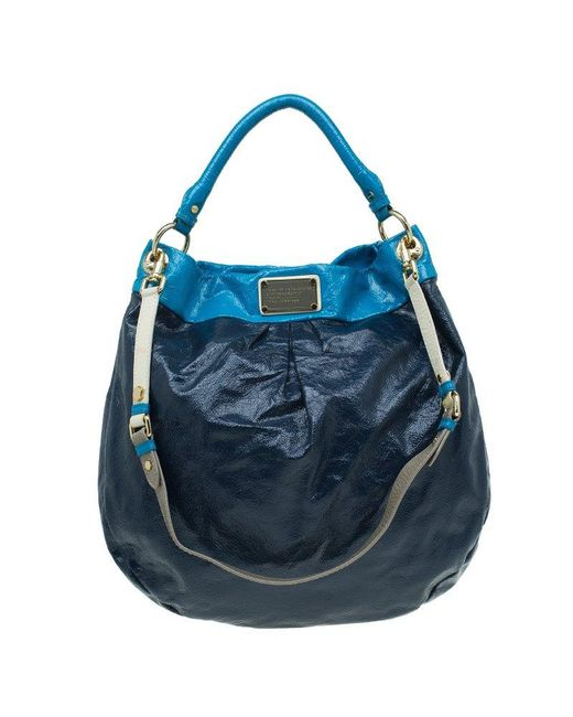 Marc By Marc Jacobs - Navy Blue Bicolor Patent Leather Classic Q Hillier Hobo - Lyst