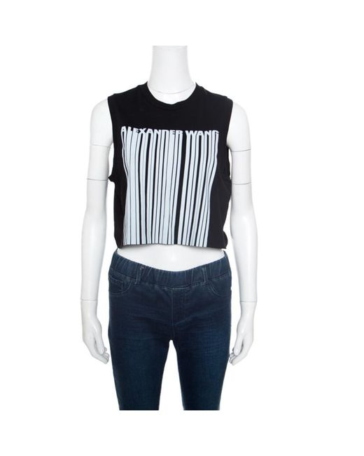 Alexander Wang - Black Barcode Printed Cotton Sleeveless Cropped Top M - Lyst