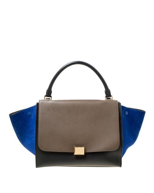 b8203e911c Céline - Multicolor Tri Color Leather And Suede Medium Trapeze Bag - Lyst  ...