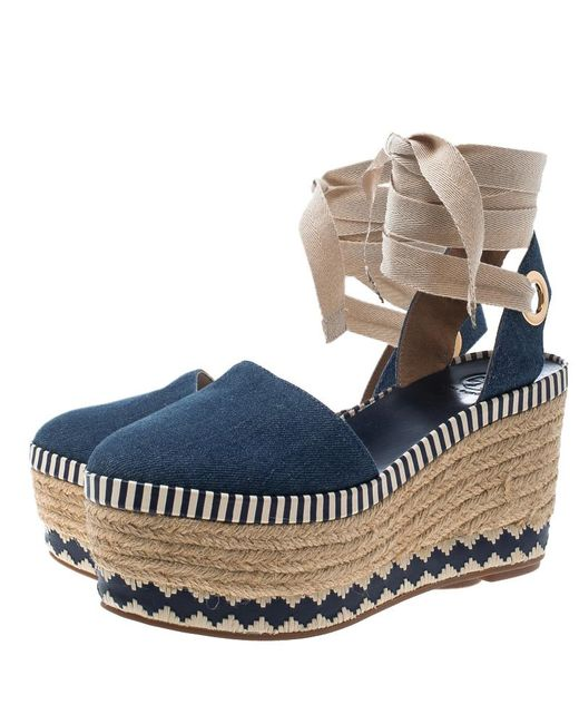 1495bfee3c48 ... Tory Burch - Blue Denim Dandy Ankle Wrap Espadrille Wedge Sandals -  Lyst ...