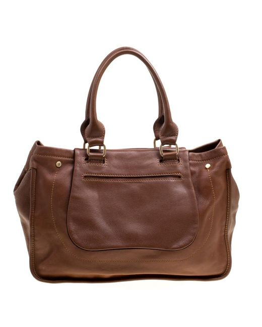bad6c5e1549 ... Longchamp - Brown Leather Balzane Roots Top Handle Bag - Lyst ...
