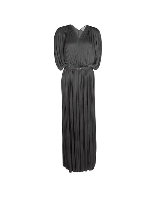 Lanvin - Gray Draped Plisse Gathered Belted Maxi Dress S - Lyst