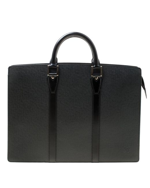1155517c727e Louis Vuitton - Black Taiga Leather Lozan Briefcase for Men - Lyst ...