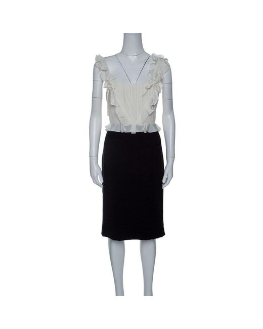Dior Multicolor Monochrome Lace Insert Ruffle Detail Silk Wool Dress L