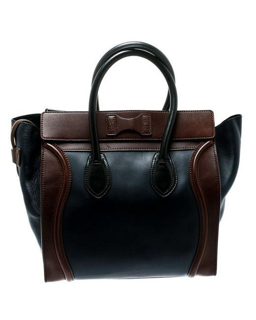 5f9e024696 ... Céline - Black Tri Color Leather Mini Luggage Tote - Lyst ...