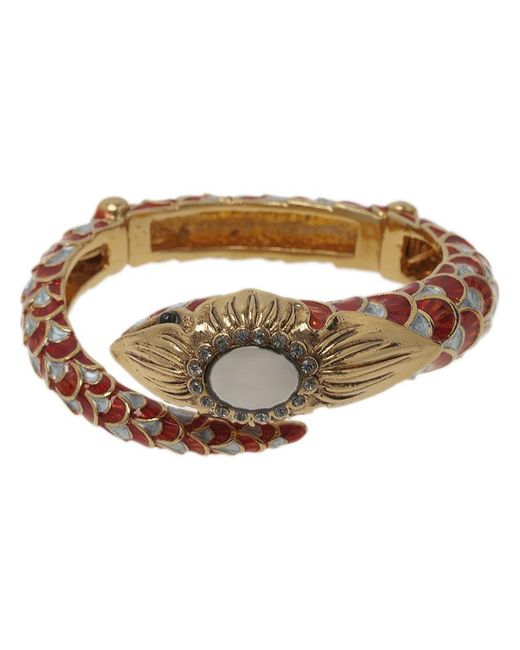 Roberto Cavalli - Red Snake Crystal Bangle Bracelet - Lyst