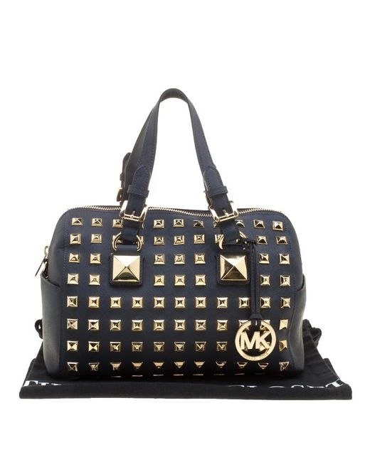 21faf4717467 ... MICHAEL Michael Kors - Navy Blue Leather Studded Grayson Satchel - Lyst  ...