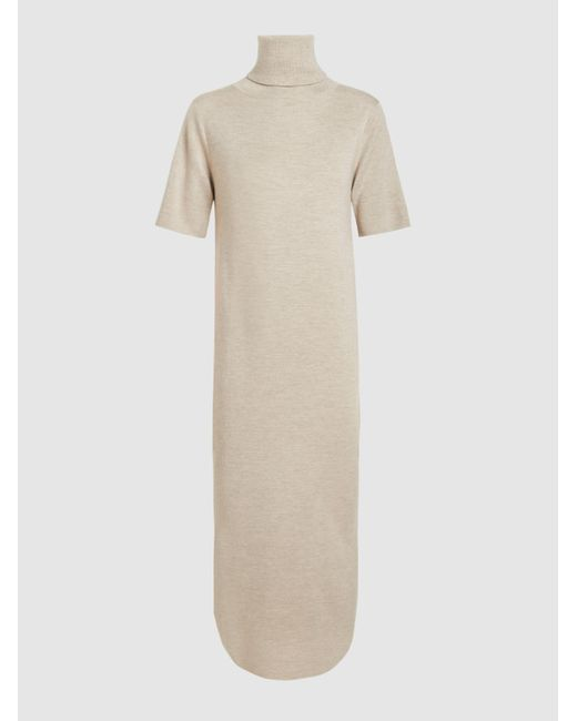 Allude | Brown Merino Wool Short Sleeve Turtleneck Midi Dress | Lyst