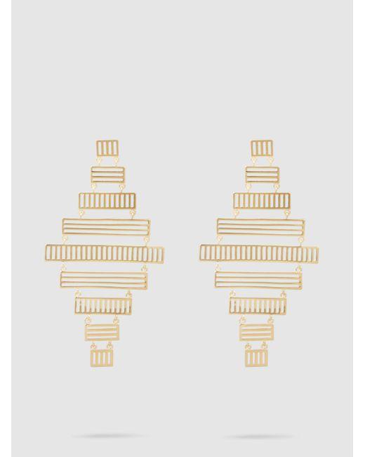 Arme De L'Amour - Metallic Stripe Chandelier Drop Earrings - Lyst