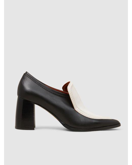 Joseph | Black Two-tone Leather Block-heel Pumps | Lyst
