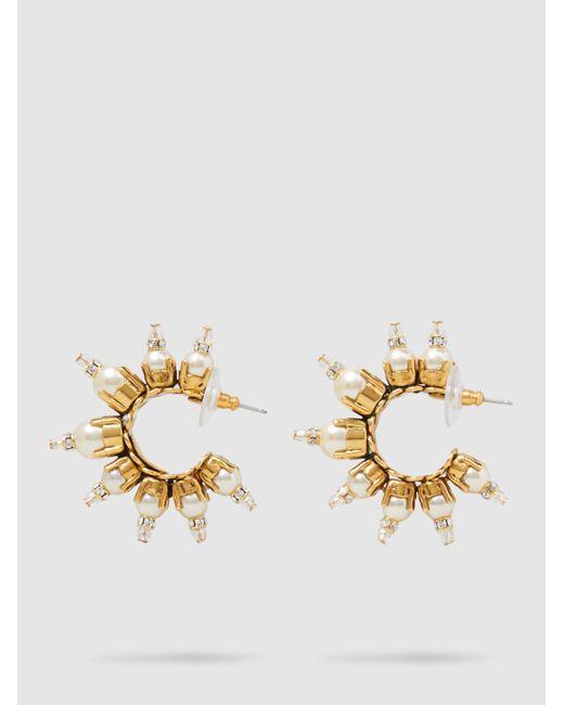 Erickson Beamon | Metallic Gold-plated Pearl Embellished Hoop Earrings | Lyst