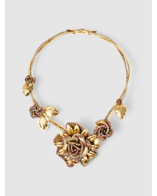 Erickson Beamon   Metallic Crystal Flower Necklace   Lyst