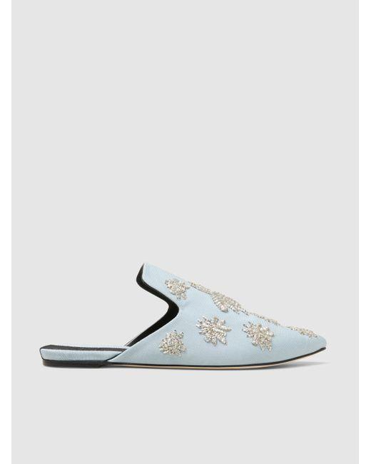 Sanayi 313 | Blue Ragno Embroidered Grosgrain Slippers | Lyst