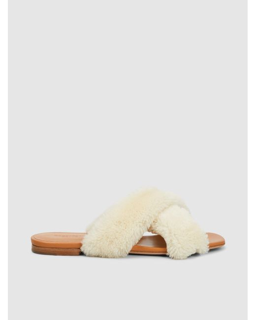 Rosetta Getty - Natural Shearling Crossover Sandals - Lyst