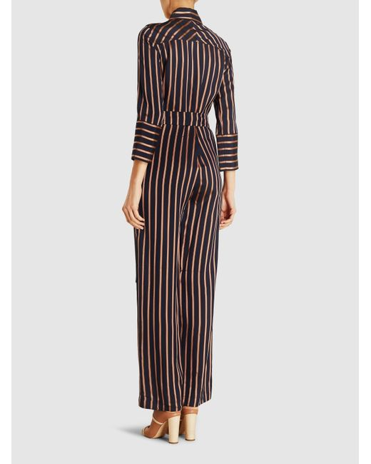 ffca8481e95 ... MiH Jeans - Blue Dexy Belted Striped Jacquard Jumpsuit - Lyst ...
