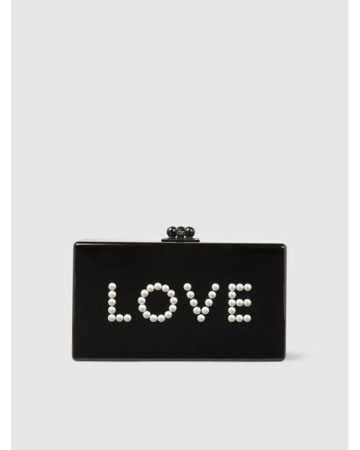 Edie Parker - Black Jean Love Embellished Acrylic Box Clutch - Lyst