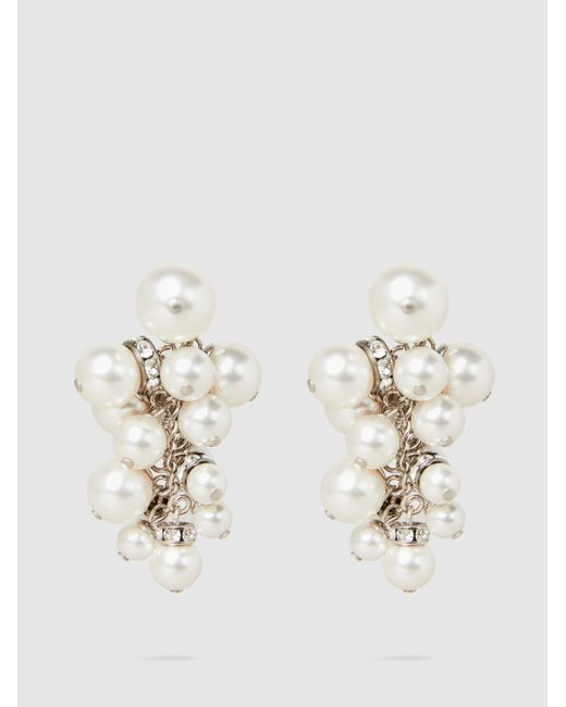 Lanvin - Multicolor Crystal-embellished Pearl Cluster Earrings - Lyst