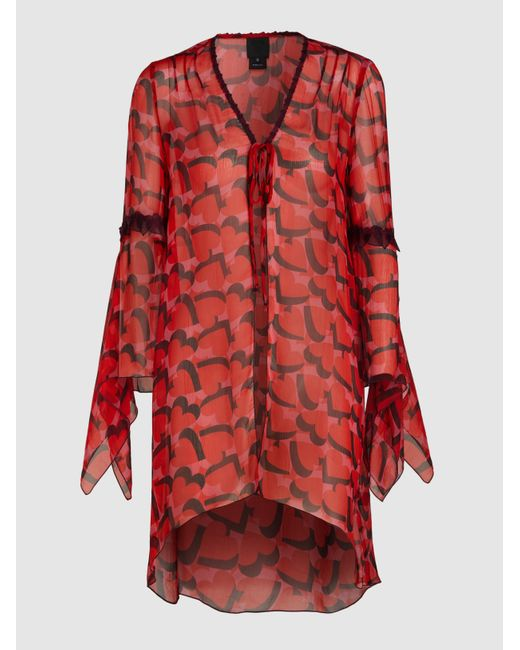 Anna Sui Red My Hearts Shadow Silk Top