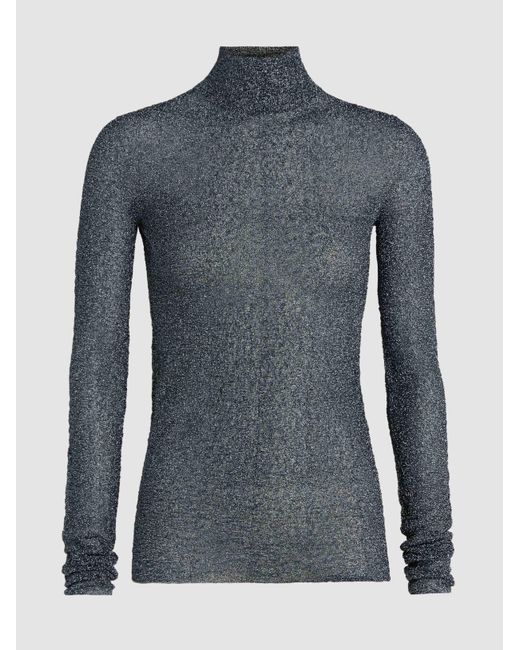 Jil Sander - Metallic High Neck Lurex Top - Lyst