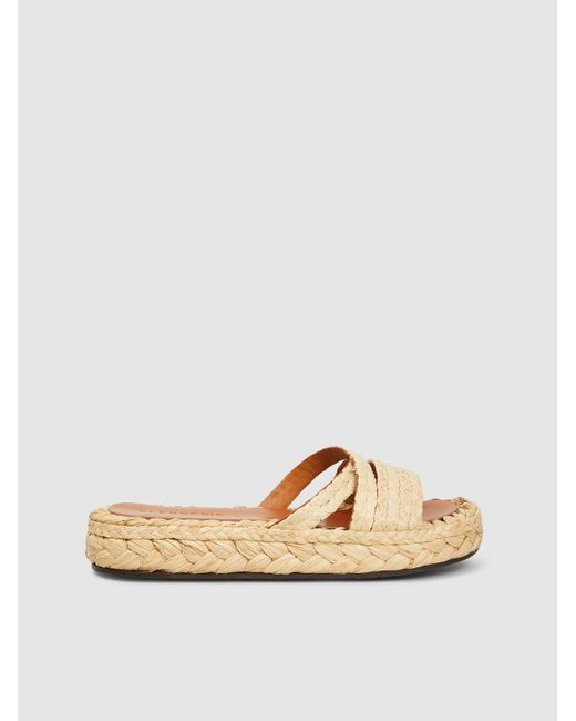 3bc78ca47a8 Lyst - Clergerie Idalie Raffia Flat Sandals in Natural - Save 47%