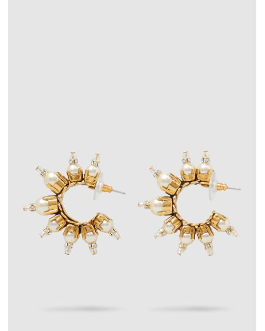 Erickson Beamon - Metallic Gold-plated Pearl Embellished Hoop Earrings - Lyst