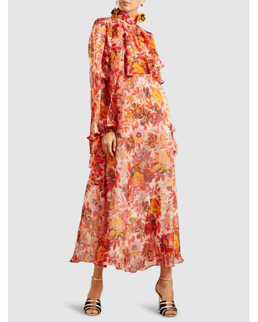 Printed Silk-Organza Maxi Dress Msgm Cheap Buy Authentic hJNy0P
