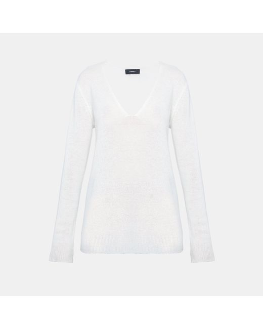 Theory - White Cashmere V-neck Sweater - Lyst