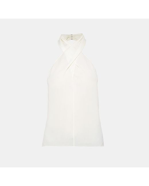 Theory - White Silk Cross-front Halter Top - Lyst