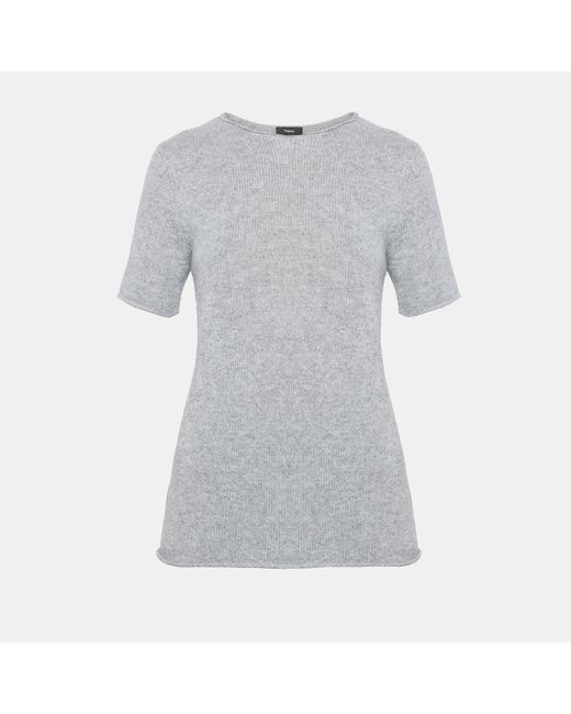 Theory - Gray Cashmere Tee - Lyst