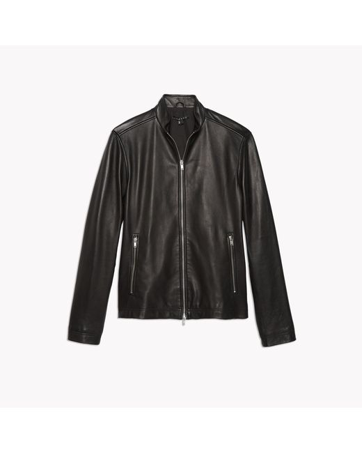 Theory | Black Leather Zip Jacket for Men | Lyst