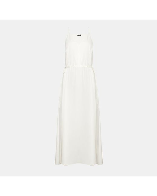 Theory - White Silk Relaxed V Maxi Dress - Lyst