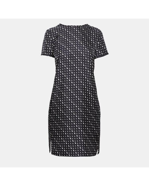 Theory - Black Triangle Stripe Silk Twill Tee Dress - Lyst