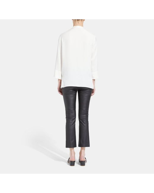 4d3ad890d17 ... Theory - White Silk Relaxed Wrap Long-sleeve Top - Lyst ...