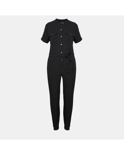 Theory - Black Silk Cargo Shirt Jumpsuit - Lyst