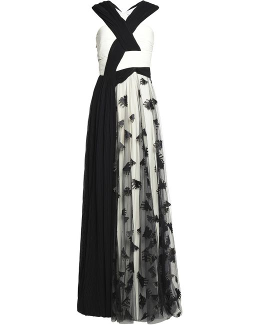 Vionnet | Black Embroidered Tulle And Pleated Chiffon Gown | Lyst